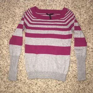 BCBGMAXAZRIA pink and grey stripe sweater